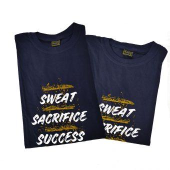 SWEAT SACRIFICE SUCCESS 100% Premium cotton Motivational Gym T-Shirt (BLUE)