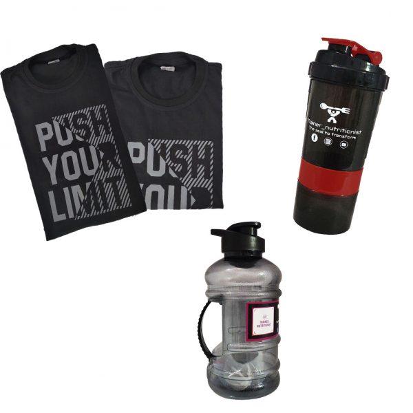 Shaker, gallon & PUSH YOUR LIMIT 100% Premium cotton Motivational Gym T-Shirt (BLACK) combo